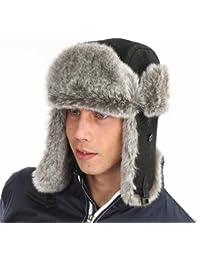 Mens Ladies Unisex Fur Trim PU Leather Trapper Warm Winter Thermal Hat AW102