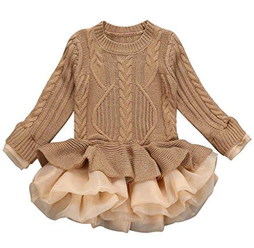 Frauen Für Sailor Girl Kostüm (Mädchen Gestrickt Sweatshirt Winter Pullovers Hirolan Kinder Häkeln Tutu Kleid Tops Kleider (110cm,)
