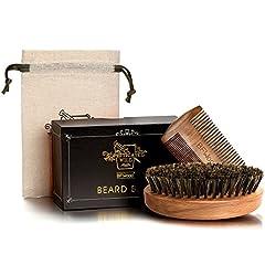 Idea Regalo - BFWood Set di Spazzola Barba con setole di cinghiale e Pettine - Stile militare