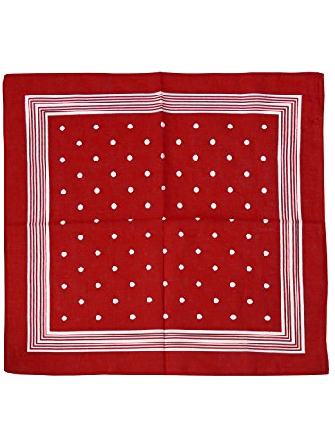 Harrys-Collection Bandana Bindetuch 100% Baumwolle 1 er 6 er oder 12 er Pack!, Farbe:Punkte rot