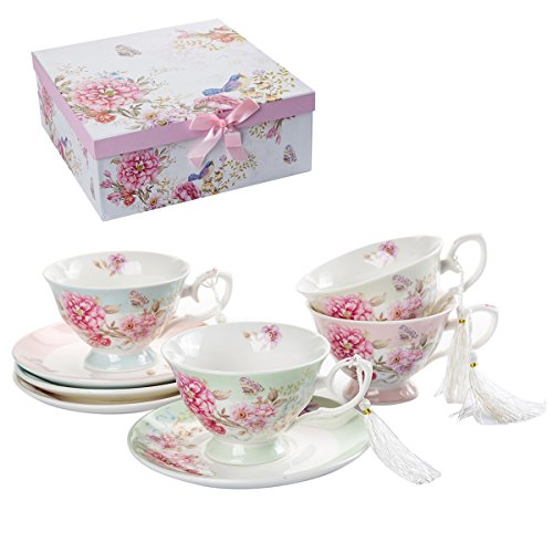 Teeservice aus Porzellan, Kaffeetassen / Teetassen mit Untertassen, Vogel-, Blumen- und Schmetterlingsmotive, 4-teiliges Set im Shabby-Chic-Stil, Vintage, in Geschenk-Box, keramik, 1 set of 4, 11x8cm -