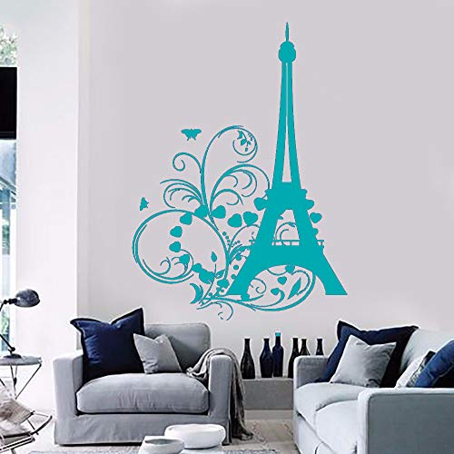guijiumai Vinile Adesivo Torre Eiffel Cuori e Fiori Romantico Bellissimo Soggiorno Decorazione della casa Adesivi F 3 42X61CM