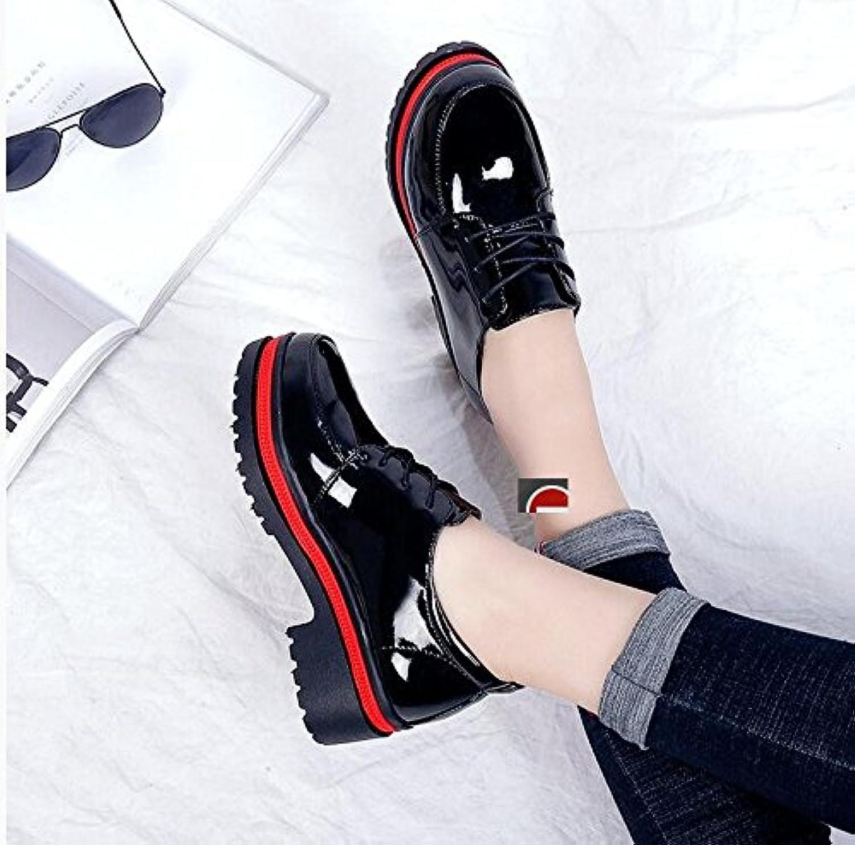 LGK&FA Impermeabilización Negros Pequeños Zapatos De Cuero Zapatos De Tacón Alto Zapatos De Tacón Alto Solo Encajes...