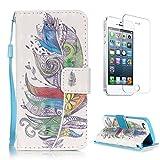 CaseHome for iPhone SE/5S/5 Housse Coque Cuir Folio Magnétique Flip Construit en...