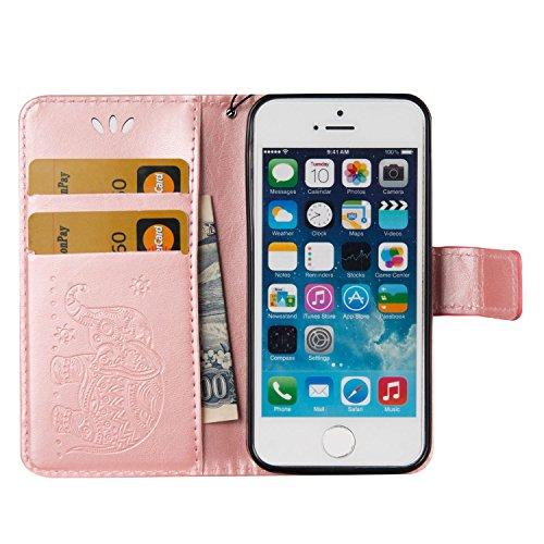 iPhone 5S Hülle Leder,Ultra-slim Exklusive Echtleder Tasche Handyhülle für iPhone SE,BtDuck 360 Grad Tasche Vertikal Klappbar aus Echtleder Wallet Flip Cover Bookstyle Case mit Magnet Luxusdesign Vint #E Rose Gold