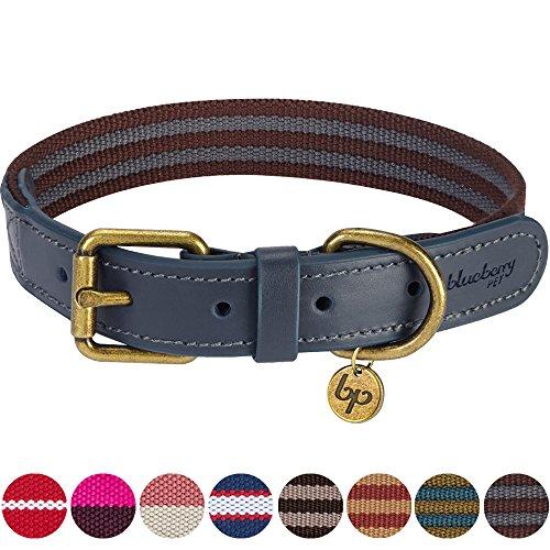 Blueberry Pet Klassisches Gestreiftes Basis Echtleder Hundehalsband in Noir-Grau und Bordeaux-Rot, L, Hals 46cm-56cm