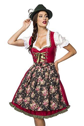 Luxus Designer Dirndl mit Schürze Kleid Dirndkleid Oktoberfest Tracht Trachtenkleid Spitze Denim Blumenprint Paspelierung Rüschen Rot Grün Rosa Blau XS - 3XL (Kleider Denim Designer)