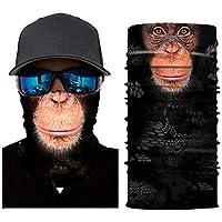 Wankd Toalla mágica Impresión digital Protector solar Animal Deportes Máscara Montar Máscara del cráneo Protectores faciales 3D Máscara del sol Sombrero Bandas de tubos sin costura para hombres Mujeres Senderismo Ciclismo Correr pesca(AC007)
