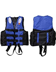 Chaleco salcavidas para los niños y adultos con silbato de talla S / M / L / XL / XXL 10-100Kg (Azul, XL)