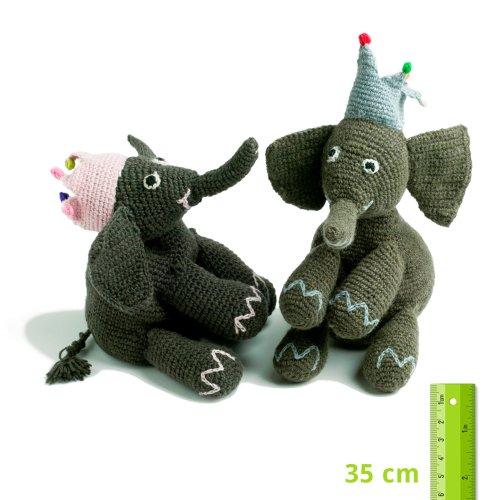 Strick-Elefant mit Krone, blau
