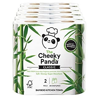 The Cheeky Panda 100 Percent Bamboo Kitchen Towel, Pack of 10 Rolls, Total 1000 Sheets