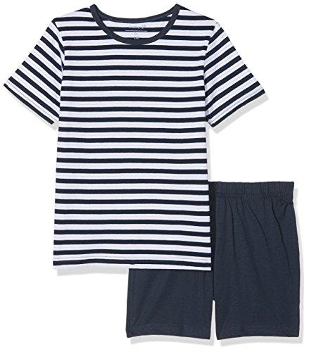 NAME IT Jungen Zweiteiliger Schlafanzug Nkmnightset Dress Blues SS Shorts, Mehrfarbig (Dress Blues Dress Blues), 128