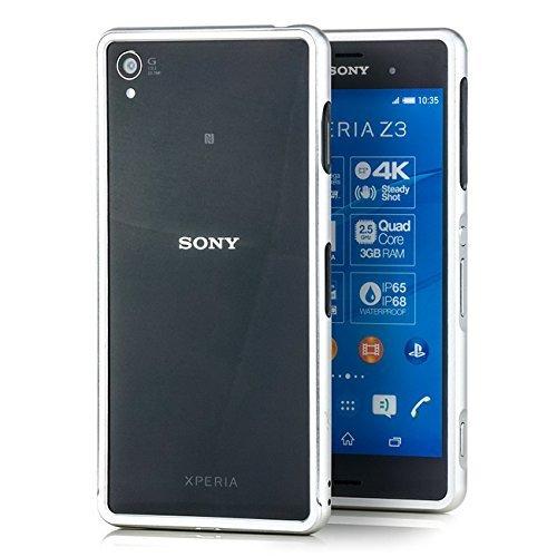 Saxonia. Custodia di alluminio per Sony Xperia Z3 Alta qualità di protezione Slim Bumper Case del respingente antiurto | colore Argento