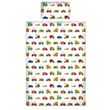 Novelux Kinderbettbezug, 100% Baumwolle, Fadendichte 200, Motiv: Autos/LKW/Flugzeuge/Züge, 100 % Baumwolle, weiß, Junior Duvet Cover 120x150cm + 1 Pillowcase 42x60