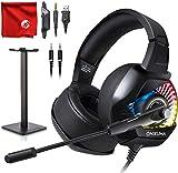 ONIKUMA K6 RGB LED Light Pro Over-Ear 7.1 Surround Sound Noise Cancelling Gaming Headset Mikrofon Bundle mit Kopfhörerständer für PC, Xbox One, PS4, Nintendo Switch, Mac, Desktop, Laptop, Computer