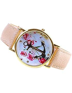 Culater® Frauen süß PU Leder Band Blumenmuster Anker Quarz Armbanduhr rosa