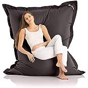 Original Lazy Bag Outdoor Bean Bag XXL 360L Giant Beanbag 180x140 cm, Nylon, black, 180x140cm (Home & Garden)
