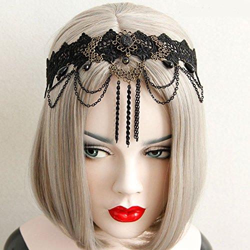 Schwarz Spitze Perle Kopf Kette für Frauen Mädchen   Bohemian Garland Kopfkette Haarschmuck   Schmuck Kette Blume Stretch Stirnband Haarband   Boho Kopf Stück   Bridal Kopfschmuck---- (Schwarz)