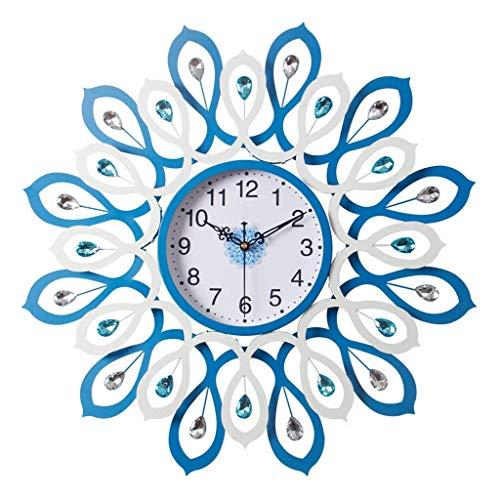 Stickers muraux Décoration Murale Nordique Salon Chambre Bijoux D'art Tenture Montre Muette Horloge En Forme Motif Bleu Tenture Accessoires D'horloge Cadeau De Coeur (Color : Blue, Size : 60 * 60cm)