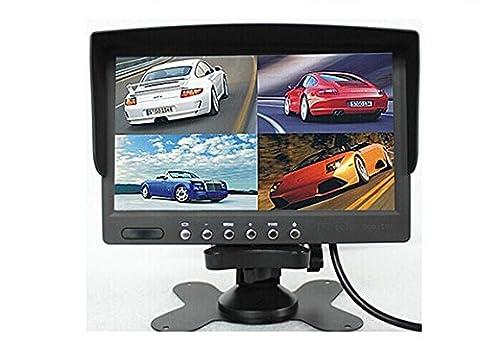 BW DC12V-24V Écran LCD couleurs 17,8cm divisé en 4 pour vision arrière moniteur de voiture pour caméra de recul de voiture bus