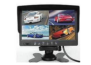BW DC12V-24V Écran LCD couleurs 17,8cm divisé en 4 pour vision arrière moniteur de voiture pour caméra de recul de voiture bus camion
