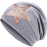 Compagno Slouch Beanie mit Pailletten aus atmungsaktivem, feinem und leichten Jersey Unisex Damen Mütze Haube Boho Bini Mädchen Einheitsgröße, Farbe:Hellgrau