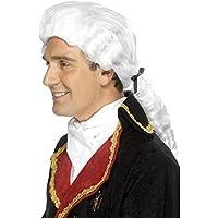 Parrucca stile barocco bianca da giudice nobile marchese barone accessori  costume 6a121e3a02f0