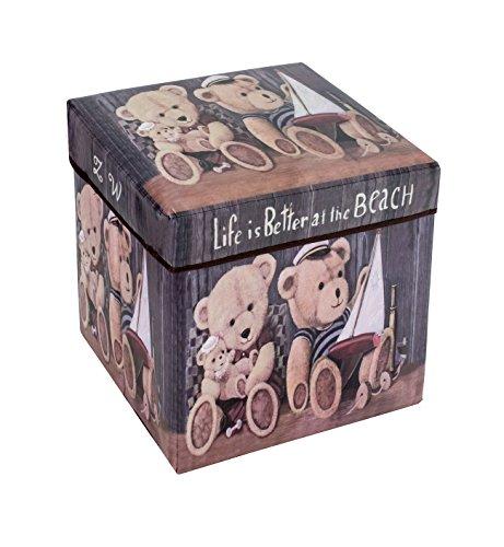 Amazinggirl Sitzhocker mit Stauraum Faltbarer und Moderne Motiv Falthocker ALS Aufbewahrungsbox Sitzwürfel und Deckel (Bears, 30 x 30 x 30 cm)