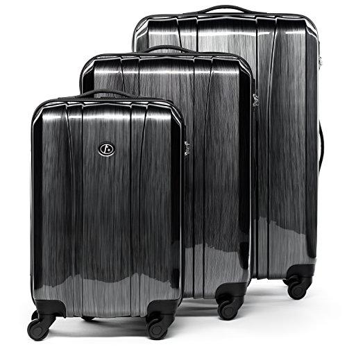 FERGÉ® Set di 3 valigie viaggio Dijon - leggero bagaglio rigido dure da 3 ABS & PC duro tre pz. valigie con 4 ruote (multidirezionali 360°) grigio