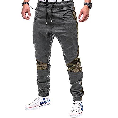 Pantalons Couture Camouflage Homme Couleur Unie Personnalité Pantalon décontracté Respirant Les Sports
