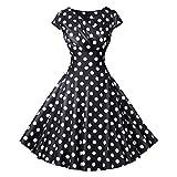 IZHH Ladies Vintage Dresses Short Sleeve O Neck Evening Printing Party Cocktail Prom Swing Dress Hepburn Style Dot Printed Dress A Line Slim Dress(Schwarz,XX-Large)