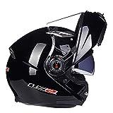 LIDMOTO Motorradhelme für Erwachsene Full Face Sport Bike Doppelscheibe abnehmbar,Light-Black,XXL