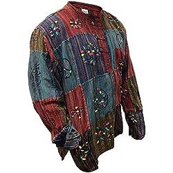 shopoholic mode délavé Chemise à rayures avec patchwork, vif, hippie - Multicolore, Small