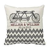 Retro tandem bicicletta zigzag chevron wedding Gift Pillow case