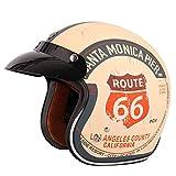 LIDMOTO Motorradhelm Nostalgie Schutzhelm Motorrad Mofa Retro mit Visier Haltbarkeit,XXL