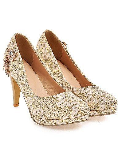 ShangYi Chaussures Femme - Mariage / Soirée & Evénement - Rouge / Argent / Or - Talon Aiguille - Talons / Bout Arrondi - Talons - Dentelle golden