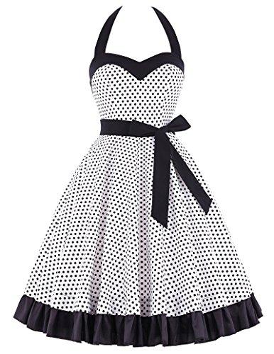Bello Poque 1950s vintage retro kleid herzförmig neckholder kleid festlich damen kleid XL BP0121-1 (Vintage Neckholder Kleid)