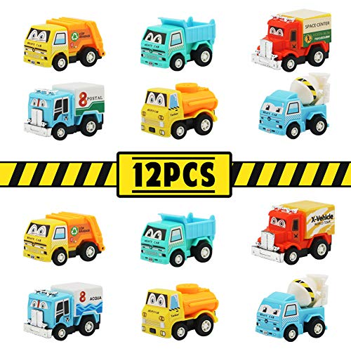 Camion Giocattolo Mini Auto Modellino Camion Cake Topper Torta per Festa Compleanno Macchinine Giocattolo per Bambini 3 4 5 Anni Ragazzi e Ragazze, 12 Pezzi (Camion Giocattolo Mini Auto 12 Pezzi)