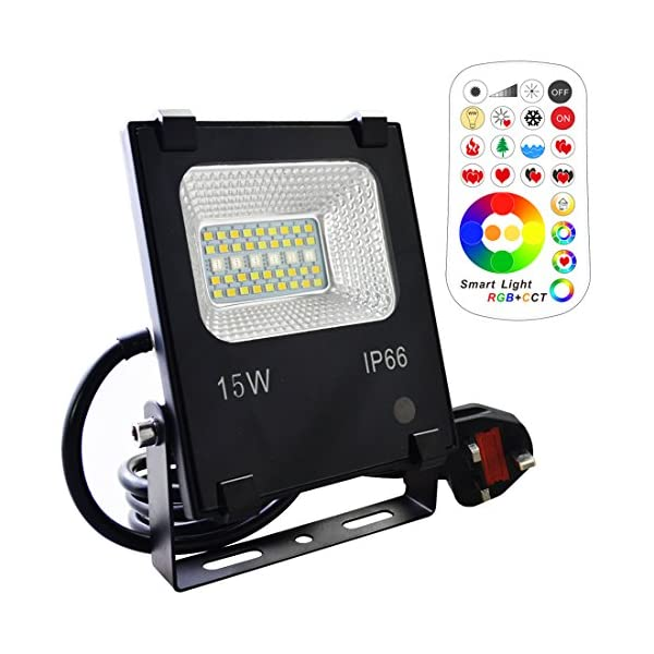 15W LED Floodlight,Outdoor/Indoor Colour Changing Flood Lights with Remote Control, 120 RGB Colours, Warm White and Cool White Adjustable, UK 3-Plug, Waterproof IP66 51O2pZP1mgL
