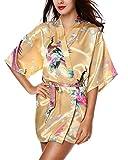 Yidarton Damen Morgenmantel Kimono Robe Bademantel Nachtw?sche kurz aus Satin mit Peacock und Bl¡§1ten entwerfen knielangen Robe f¡§1r Hochzeit & Party & Schlafzimmer gelb M