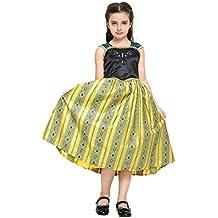 Katara - Disfraz de Anna Frozen Deluxe, vestido amarillo de la Reina del Hielo y del cuento de hadas de Disney - para niñas de 6-7 años