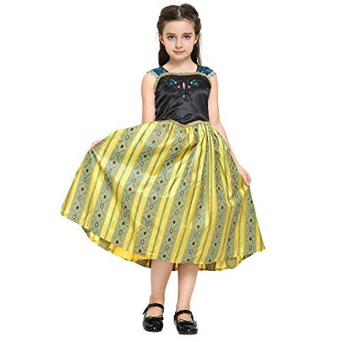 Eiskönigin Anna (und Elsa) Deluxe Prinzessin-Kleid von Disney Frozen als Mädchen-Kostüm für Karneval, Fasching, Fastnacht, Halloween, Geburtstagsparty (Frozen Elsa Schnee Königin Kostüm)