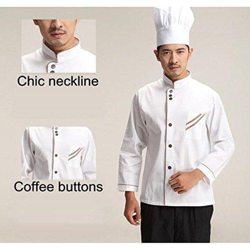 F Fityle Weiß Langarm Kochjacke Bäckerjacke mit Knöpfe Gastronomie Arbeitskleidung Koch Küchen Uniformen Kochkleidung - Weiß, XXL - 8