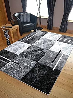 Modern Small Extra Large Sahara Silver Grey Black Marble Quality Thick Floor Long Carpet Runner Rugs - low-cost UK light store.