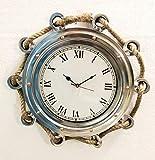 Reloj de Pared náutico de 40,6 cm con Cuerda de Yute Marino Envejecido, para decoración del hogar