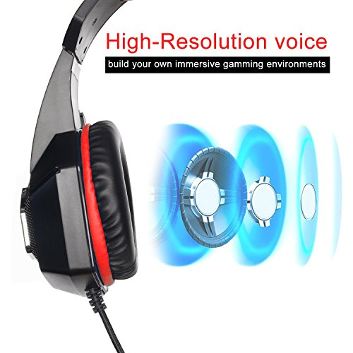 Auriculares gaming TENSWALL para PS4 o PC serie Hunterspider Cascos Gaming con cable y LED para PC Auriculares de diadema con micrófono y puerto Jack de 3 5 mm. Cascos con sistema de control de volumen y cancelación de ruido compatible con Xbox One Nintendo Switch PC Laptop Tablet Móvil etc. (Negro/Rojo)
