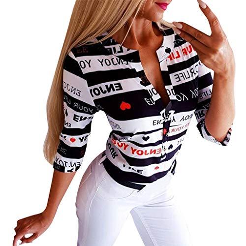 Strand Lose Bluse Sommer Frauen V-Ausschnitt Knopfdruck Knopf Langarm T-Shirt Tops Bluse ()