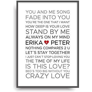 Fine Art Kunstdruck LOVE SONGS HOCHZEIT Poster Print Plakat moderne Vintage Deko Bild Rahmen DIN A4 Geschenk personalisiert