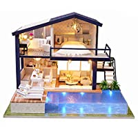 Sue-Supply DIY Wooden Dolls House Chelsea Doll Cottage Handcraft Miniature Kit, With Home Decoration Accessories, LED Light And Music, Best Gift For Children