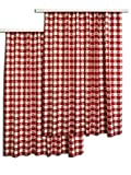 """Dekoschal """"Karo in Rot"""" 2-er-Pack / Set mit Reihband rot-weiss Vorhang Übergardine"""